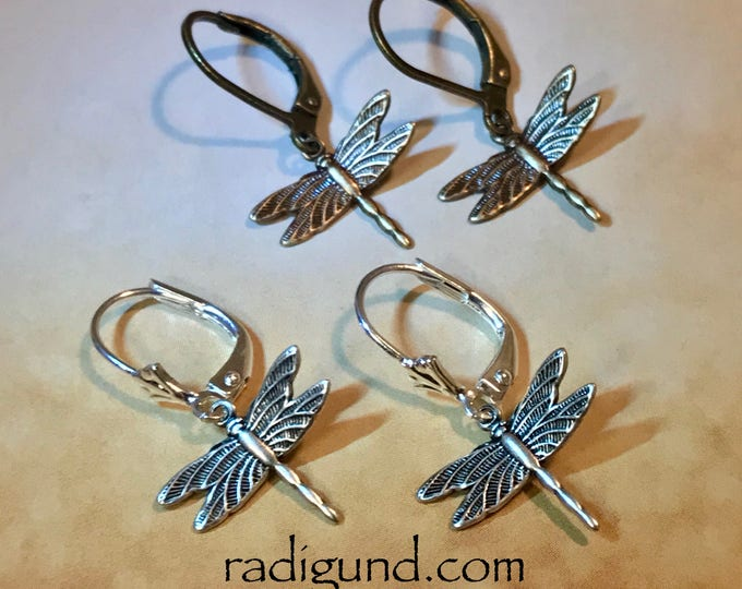 Tiny Dragonfly earrings~ outlander inspired~ Silver earrings~bronze earrings