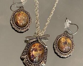 Topz Opal jewelry set, Opal Necklace, Opal Earrings, dragonfly, Neutral purple topz, glass opals, silver necklace, silver opal, opal pendant