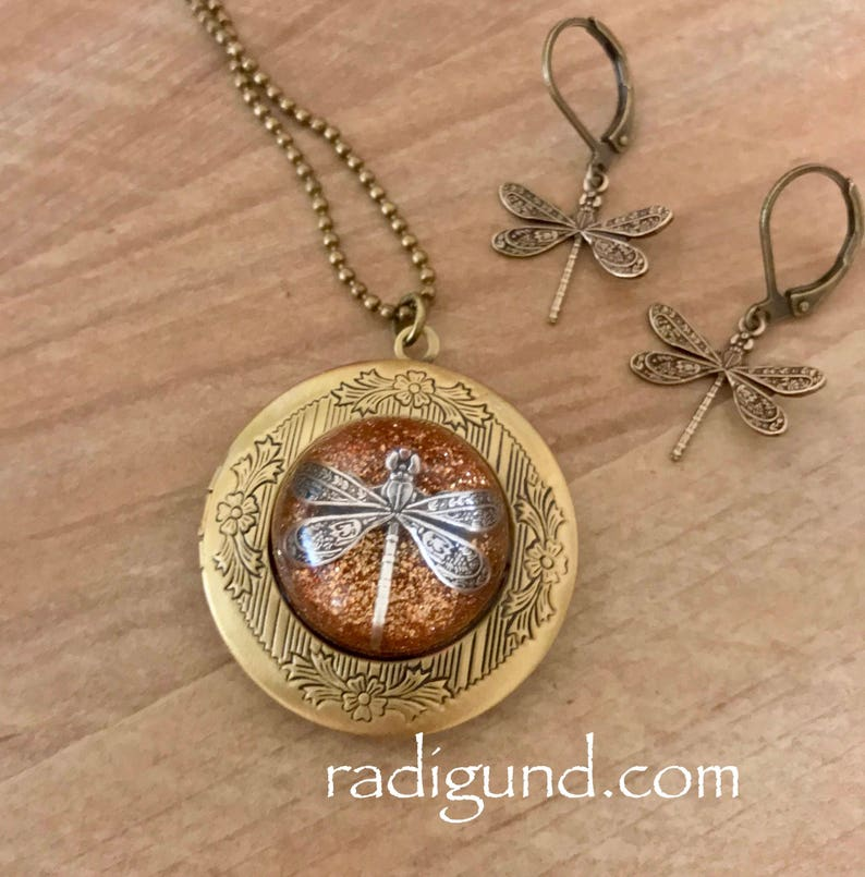 Bronze Locket-Dragonfly in Amber-Photo Locket-Bronze Locket w/ Earrings