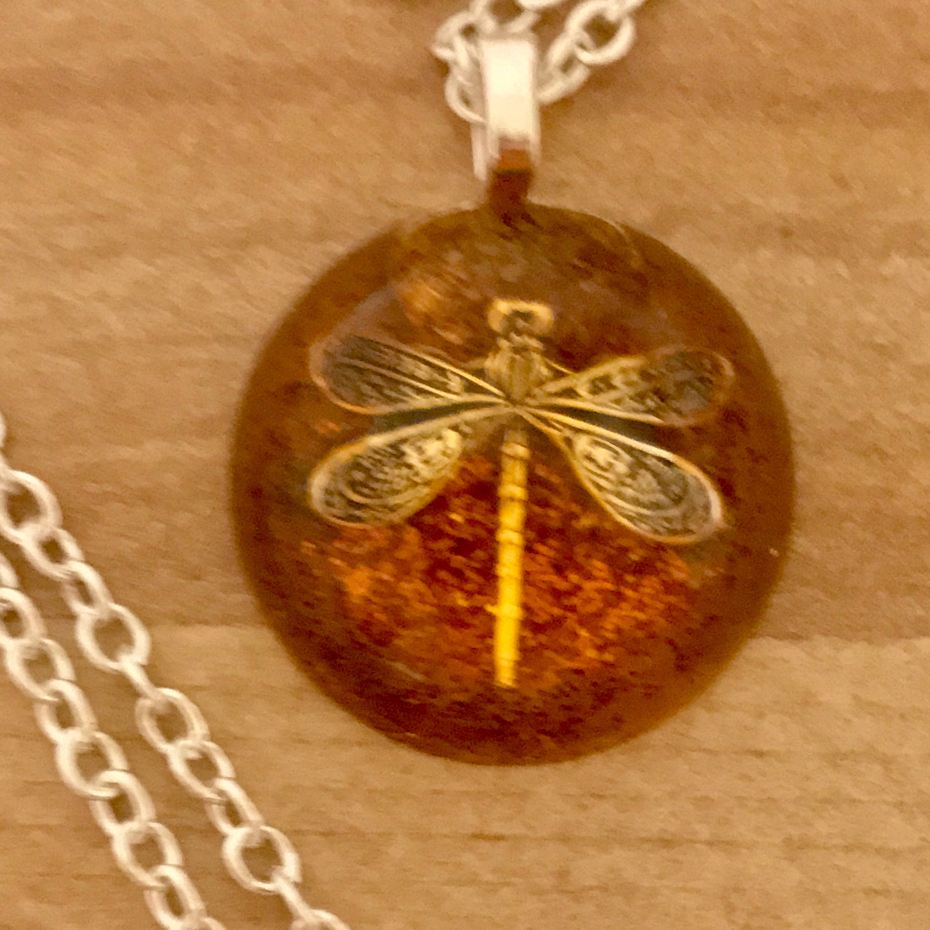 Small Round Pendant Dragonfly In Amber Resin Pendants