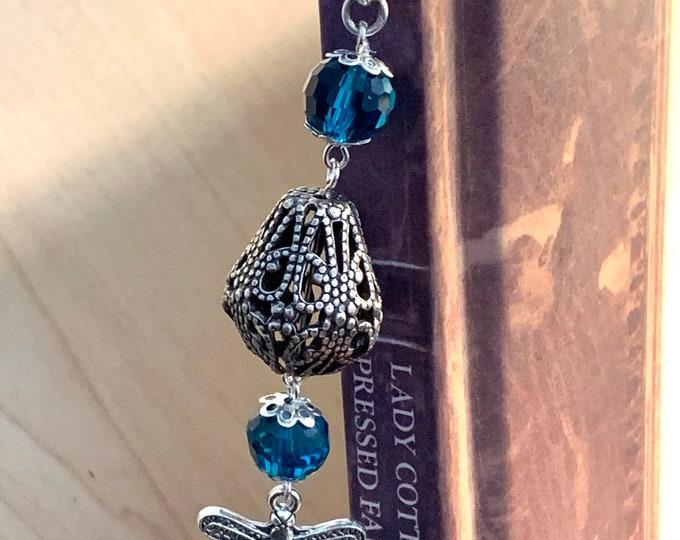 Bookmark Hook~dragonfly bookmark~Blue Bookmark~Victorian bookmark~silver bookmark~antique bookmark