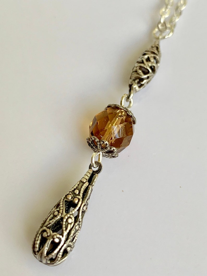 topaz earrings-outlander inspired-outlander jewelry Topaz set-Smokey topaz-silver necklace