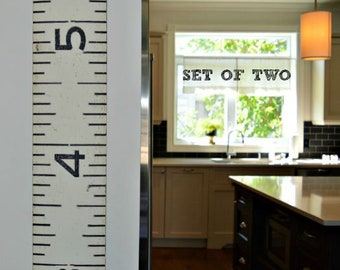 Giant ruler growth chart with an industrial-look: Two (2) Brimfield Growth Charts