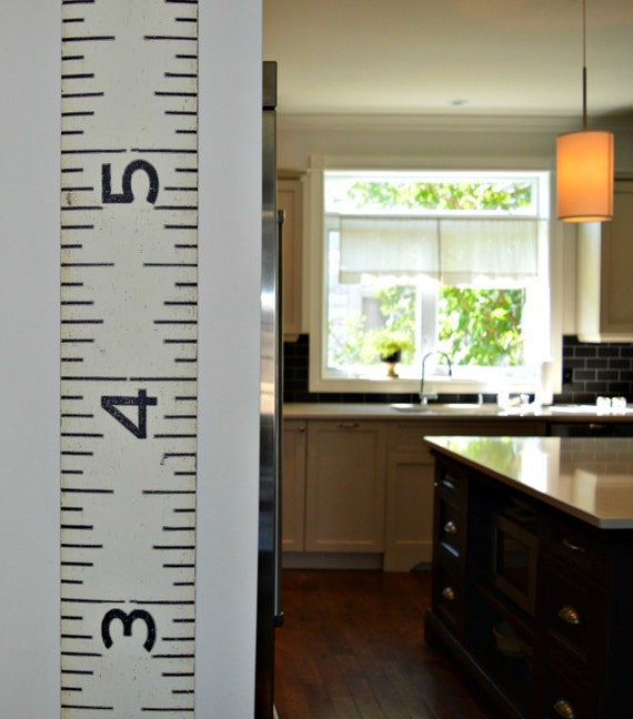 Canvas Ruler Growth Chart Oversized Black And White Vintage Etsy