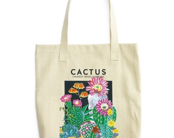 Cactus Botanical Tote Bag / Shopping Succulent palm springs Vintage Illustration Seed Packet Flower Boho Festival Style / DTG T1105-T