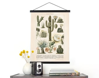 Vintage German Cactus Canvas Wall Hanging