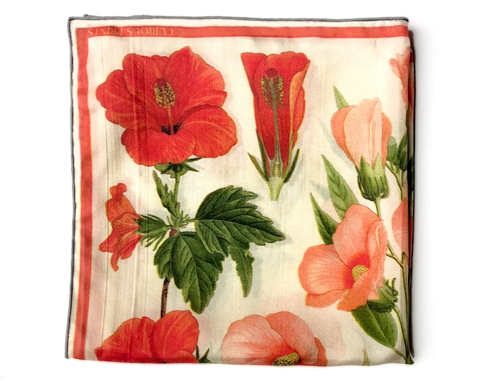 Featured listing image: Scarf 100% Silk Botanical Hibiscus flower tropical Bandana 16x16 / Vintage Illustration