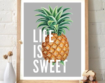 Vintage Pineapple Typography Print -  Life is Sweet -  Nursery art children's room Vintage Inspired botanical art. home decor - ML005P