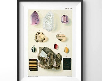 Vintage Geology Gems and Minerals Reproduction Poster. German Educational Diagram Chart Scientific Crystals - CP200