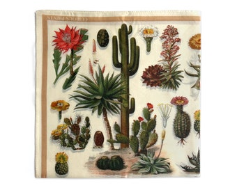 100% Silk Cactus Scarf 17x17