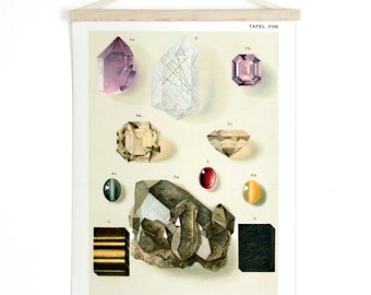 Pull Down Chart - Minerals Gems amethyst Geology Reproduction Canvas Print. Vintage German Educational Diagram Scientific Crystals - M009CV