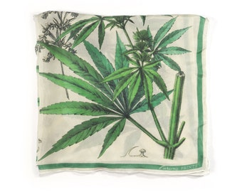 Marijuana Cannabis Gypsy Scarf / Weed Ascot neckerchief Bandana / Botanical Illustration / Square 16x16 Poly Chiffon  / A3301