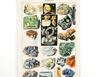 Pull Down Chart - Vintage Minerals Diagram Canvas Print. Illustration from French Encyclopedia by Millot Petit Larousse Mineraux - M010CV