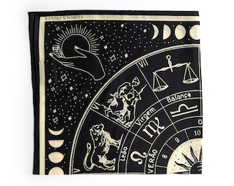PREORDER 100% Silk Scarf Signs of the Zodiac Astrology Bandana 17x17