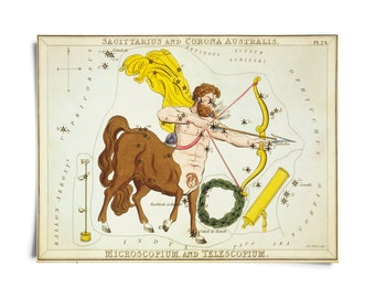 Vintage Sagittarius Zodiac Astrology Sign Print from Urania's Mirror Star Atlas
