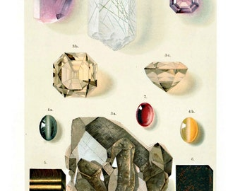 Vintage Geology Gems and Minerals Print. German Educational Diagram Chart Scientific Crystals - M005P