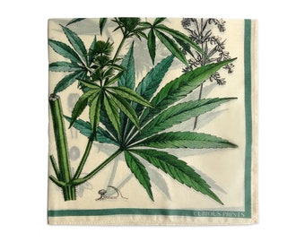 Scarf 100% Silk Botanical Hemp Marijuana Cannabis Bandana 17x17