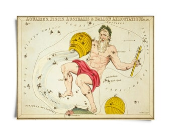 Vintage Aquarius Zodiac Astrology Sign Print from Urania's Mirror Star Atlas