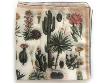 Palm Springs Desert Cactus Gypsy Scarf 100% Silk 16x16 / Ascot neckerchief Bandana / Botanical Illustration / Square