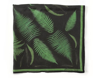 Fern Print Scarf / Botanical Printed Ascot neckerchief Bandana / Leaves Plants Vintage Illustration / Square 16x16  Poly Chiffon  /A3302