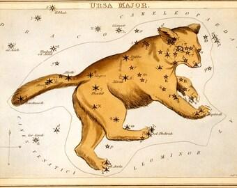Vintage Ursa Major Constellation Print. Urania's Mirror Star Chart Astrology Astronomy - M007P