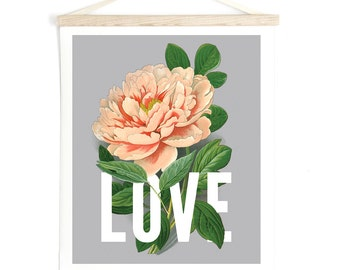Pull Down Chart - Love Botanical Typography Print with pink vintage Peony flower Canvas Hanging Print - Wall Hanging - ML003CV
