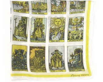 Tarot Card Gypsy Boho Scarf / Printed neckerchief Bandana Ascot / Vintage Illustration / Square 16 x 16 Poly Chiffon/A3305