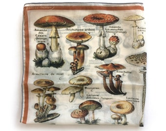 French Mushroom Illustration Scarf / Ascot neckerchief Bandana / Botanical Illustration / Square 16x16 Poly Chiffon
