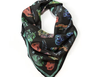 Crystals & Gems Scarf / Minerals Printed Ascot neckerchief Bandana / Vintage Geo Illustration / Square 16x16 Poly Chiffon  /A3303
