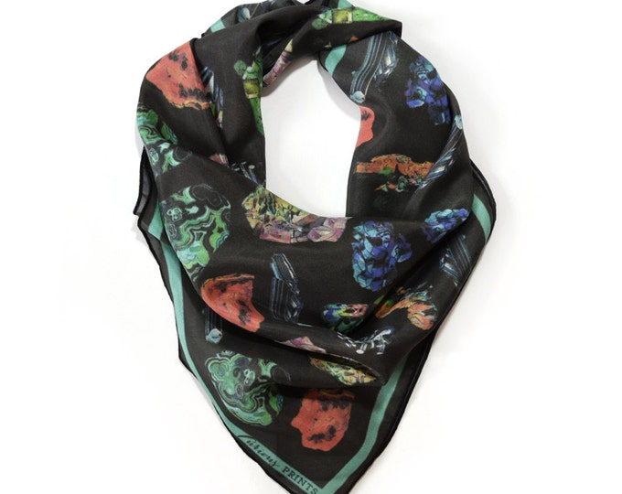 Featured listing image: Crystals & Gems Scarf / Minerals Printed Ascot neckerchief Bandana / Vintage Geo Illustration / Sqaure 26x26 Poly Chiffon  /A3303