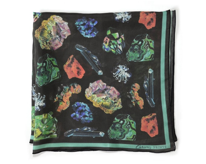 Featured listing image: Crystals & Gems Scarf / Minerals Printed Ascot neckerchief Bandana / Vintage Geo Illustration / Square 16 x 16 Poly chiffon  /A3303