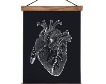 Pull Down Chart - Anatomy Heart Reproduction Canvas Print. Beating Human Heart Educational Biology Diagram Science Classroom - AT004CV