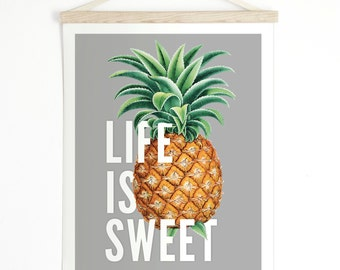 Vintage Pineapple Pull Down Chart - Life is Sweet Canvas Hanging Print - Wall Hanging Vintage Botanical  Inspirational - ML005CV