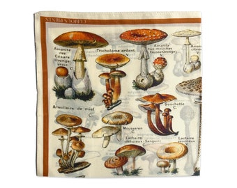 100% Silk Scarf Mushroom Bandana 17x17