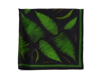 100% Silk Scarf Forest Fern pattern Bandana 17x17