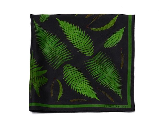 Featured listing image: 100% Silk Scarf Forest Fern pattern Bandana 17x17
