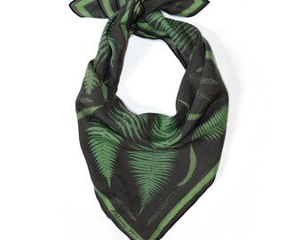 Fern Print Scarf / Botanical Printed Ascot neckerchief Bandana / Leaves Plants Vintage Illustration / Sqaure 26x26  Poly Chiffon  /A3302