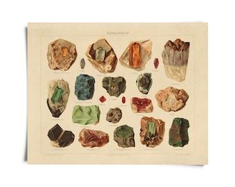 Vintage Natural History Minerals and Gemstones German Print B039P