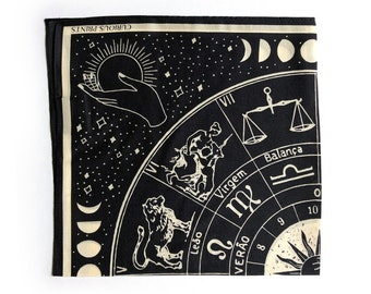 100% Silk Scarf Signs of the Zodiac Astrology Bandana 17x17