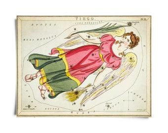 Vintage Virgo Zodiac Astrology Sign Print from Urania's Mirror Star Atlas