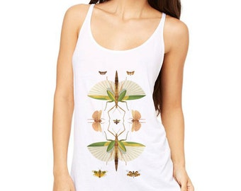 Printed Slouchy Tank Top / Womans White Insects Shirt Cricket Butterflies / Kaleidoscope Vintage Illustration Digital DTG /T1101v-s