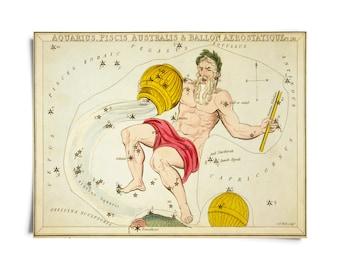 Vintage Aquarius Zodiac Astrology Sign Print from Urania's Mirror Star Atlas
