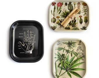 Small Metal Ritual Tray / Space Clearing Kit with Palo Santo / Rolling Tray / Palmistry Cannabis Cacti options