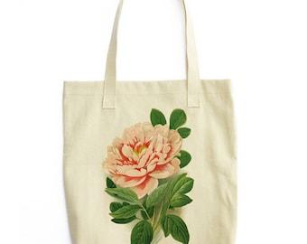 Peony Flower Botanical Tote Bag / Shopping Pink Rose Garden Plant Vintage Illustration Seed Packet Boho Festival Style