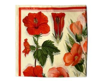 100% Silk Scarf Botanical Tropical Hibiscus Flower Bandana 17x17