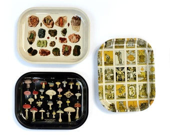 Small Metal Ritual Tray / Space Clearing Kit with Palo Santo / Rolling Tray / Palmistry Cannabis Cacti Tarot Mushroom Crystals