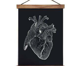Pull Down Chart - Anatomy Heart Reproduction Canvas Print. Beating Human Heart Educational Biology Diagram Science Classroom - CP127CVL