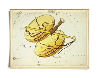 Vintage Libra Zodiac Astrology Sign Print from Urania's Mirror Star Atlas