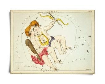 Vintage Gemini Zodiac Astrology Sign Print from Urania's Mirror Star Atlas