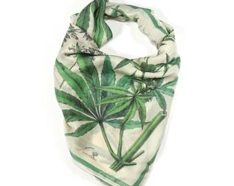 "Marijuana Cannabis Gypsy Scarf / Weed Ascot neckerchief Bandana / Botanical Illustration / Sqaure 26""x26"" Poly Chiffon  / A3301"